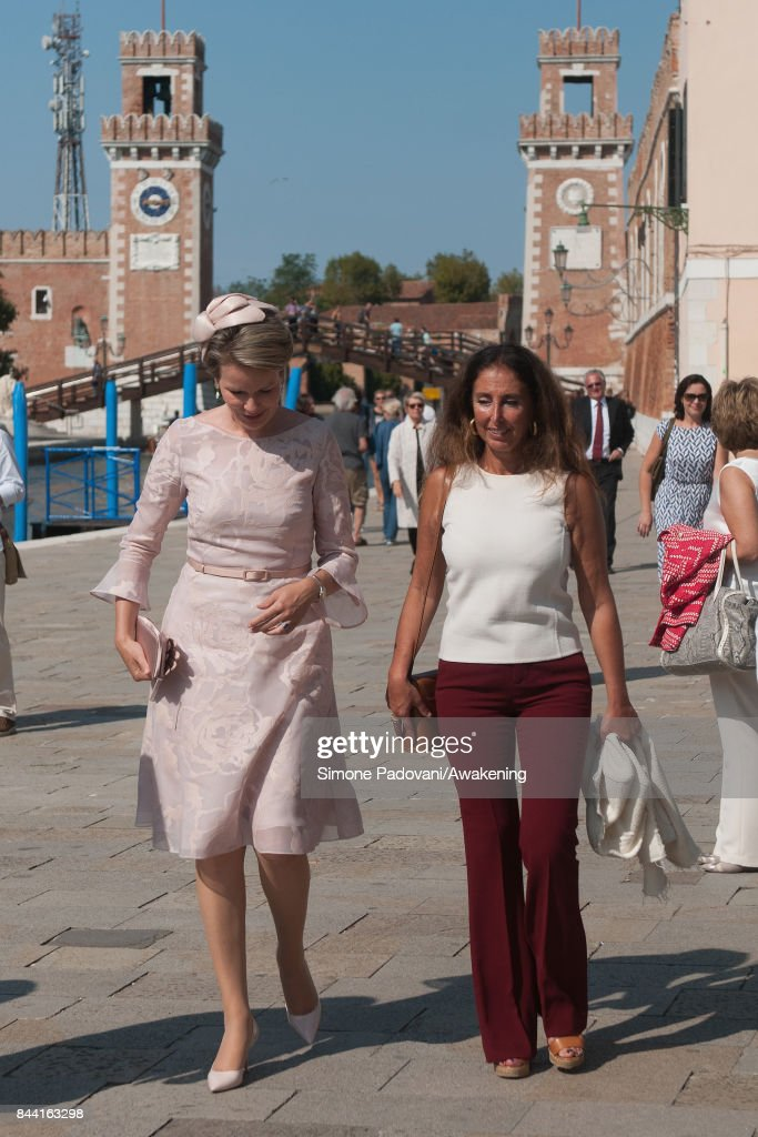 Queen Mathilde of Belgium arrives at the Arsenale area of the 57 International Art Biennale in Venice on September 8, 2017 in Venice, Italy.