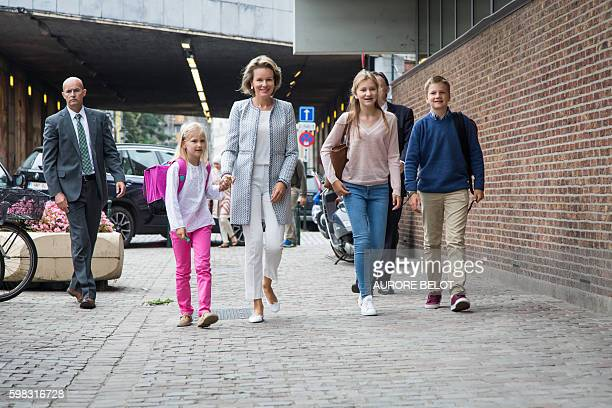 Queen Mathilde of Belgium arrives at the primary school with Princess Eleonore Crown Princess Elisabeth and Prince Gabriel on the first day of school...