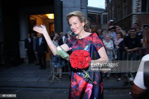 Queen Mathilde of Belgium arrives for a prelude concert by the Belgian National Orchestra on the eve of Belgian National Day on July 20 2015 in...
