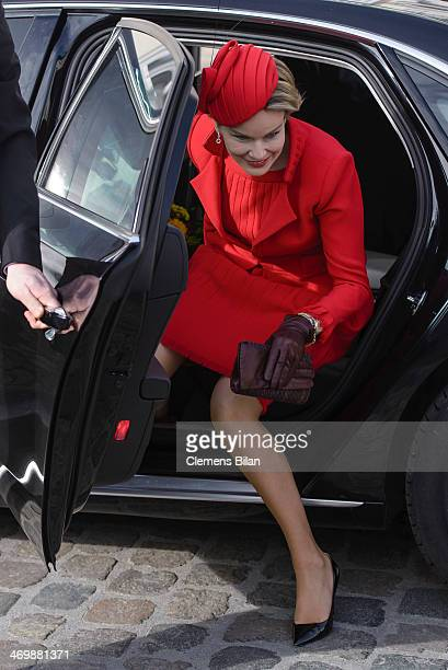 Queen Mathilde of Belgium arrives for a visit to German President Joachim Gauck at Bellevue Palace on February 17 2014 in Berlin Germany