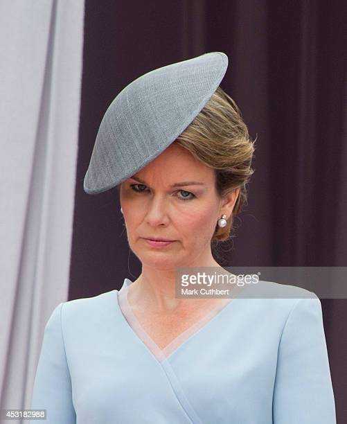 Queen Mathilde of Belgium at Saint Laurent Abbey for a ceremony to mark 100th anniversary of World War 1 on August 4 2014 in Liege Belgium