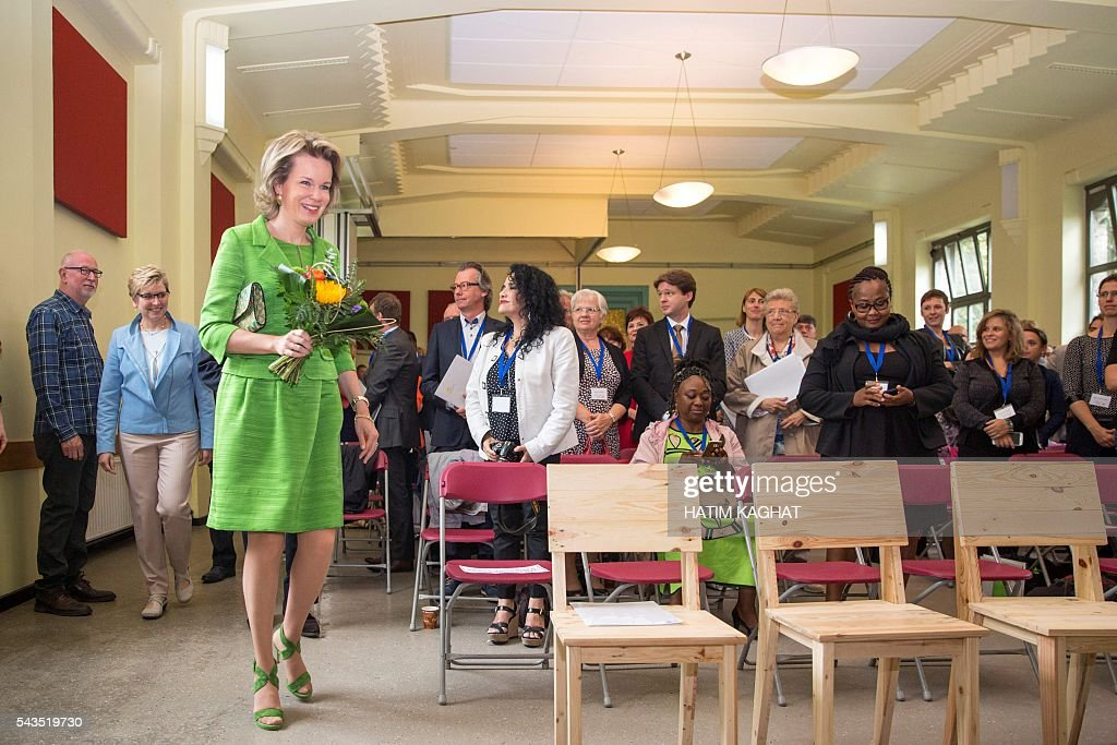 Queen Mathilde of Belgium attends a ceremony for the Federal Poverty Reduction Prize on June 29, 2016 in Brussels. / AFP / Belga / HATIM KAGHAT / Belgium OUT