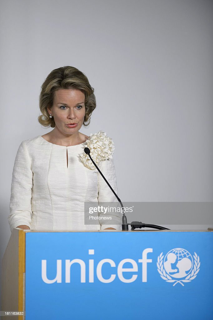 Queen Mathilde Of Belgium attends a side-event co-hosted by UNICEF and Global Compact Belgium: 'Children's rights are everyone's business' at UNICEF House during her visit to New York on September 18, 2013 in New York City.