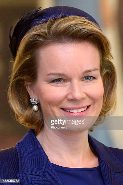 Queen Mathilde of Belgium attends a welcome ceremony hosted by Grand Duke Henri and Grand Duchess Maria Teresa of Luxembourg at Grand Ducal Palace on...