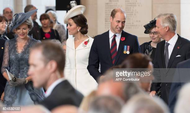 Queen Mathilde of Belgium Britain's Catherine The Duchess of Cambridge Britain's Prince William The Duke of Cambridge and King Philippe Filip of...
