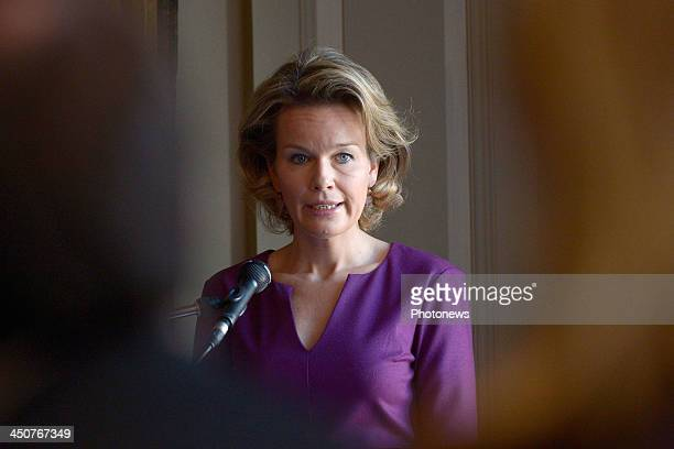 Queen Mathilde of Belgium delivers a speech at UNICEF Belgium on UNICEF's Universal Children's Day observed as a day of worldwide fraternity and...