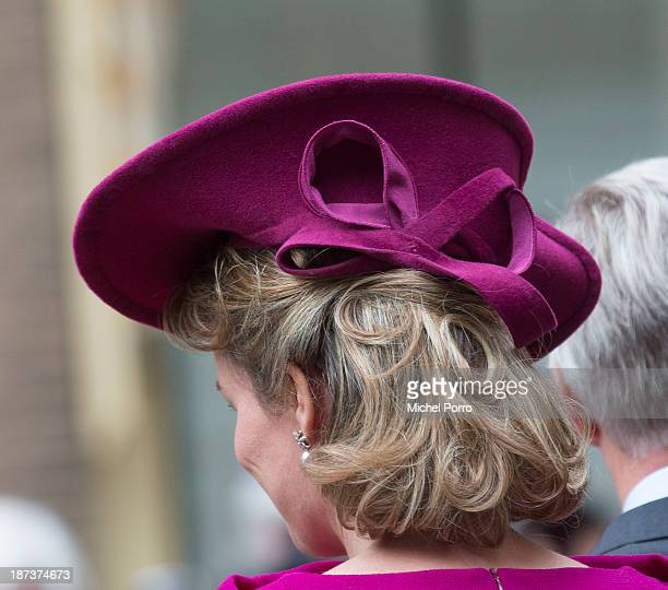 Queen Mathilde of Belgium during an official visit to The Netherlands on November 8 2013 in The Hague Netherlands