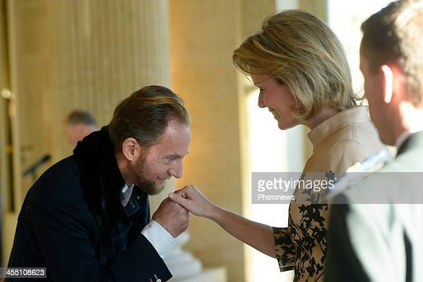 Queen Mathilde of Belgium during her meeting with the new official providers of the Court on December 11 2013 in Brussels Belgium