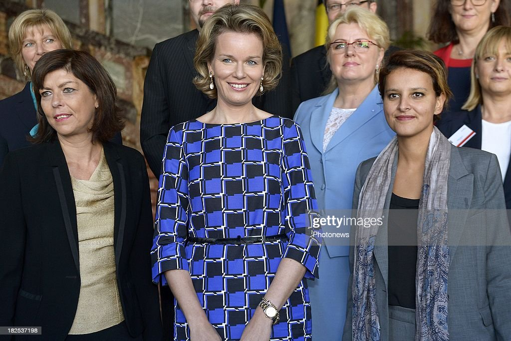 Queen Mathilde of Belgium, French Minister of Women's rights <a gi-track='captionPersonalityLinkClicked' href=/galleries/search?phrase=Najat+Vallaud-Belkacem&family=editorial&specificpeople=4115928 ng-click='$event.stopPropagation()'>Najat Vallaud-Belkacem</a> and <a gi-track='captionPersonalityLinkClicked' href=/galleries/search?phrase=Joelle+Milquet&family=editorial&specificpeople=4324706 ng-click='$event.stopPropagation()'>Joelle Milquet</a> Belgium Minister of Interior Affairs (L) attend an international conference for the 65th anniversary of the UN Convention on September 30, 2013 in Brussels, Belgium.
