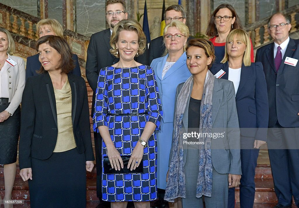 Queen Mathilde of Belgium, French Minister of Women's rights Najat Vallaud-Belkacem and Joelle Milquet Belgium Minister of Interior Affairs (L) attend an international conference for the 65th anniversary of the UN Convention on September 30, 2013 in Brussels, Belgium.