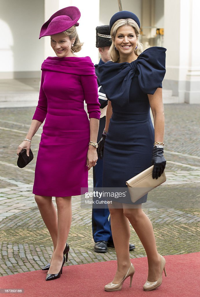 <a gi-track='captionPersonalityLinkClicked' href=/galleries/search?phrase=Queen+Mathilde+of+Belgium&family=editorial&specificpeople=239189 ng-click='$event.stopPropagation()'>Queen Mathilde of Belgium</a> is met by Queen Maxima of the Netherlands during an official visit by King Philippe and <a gi-track='captionPersonalityLinkClicked' href=/galleries/search?phrase=Queen+Mathilde+of+Belgium&family=editorial&specificpeople=239189 ng-click='$event.stopPropagation()'>Queen Mathilde of Belgium</a> to The Netherlands on November 8, 2013 in The Hague, Netherlands.