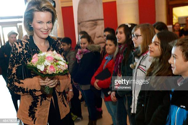 Queen Mathilde of Belgium is pictured during her visit to the Henry van de Velde exhibition at the Royal Museum for Fine Arts of Brussels on December...
