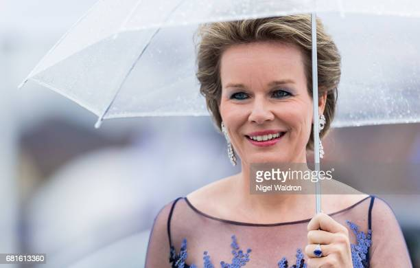 Queen Mathilde of Belgium is seen arrives at the Opera House on the occasion of the celebration of King Harald and Queen Sonja of Norway 80th...