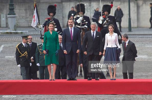 Queen Mathilde of Belgium King Felipe of Spain King Philippe of Belgium and Queen Letizia of Spain during a Spanish State visit at the Belgian Royal...