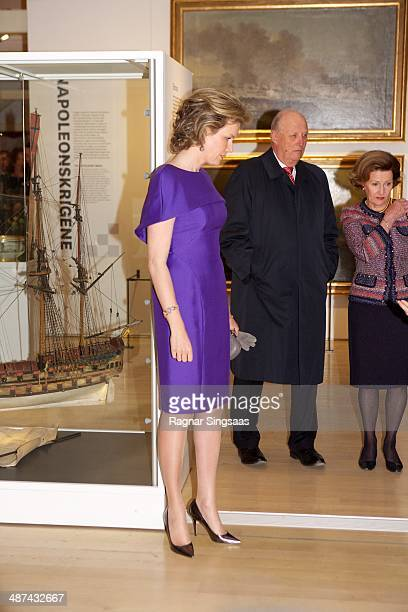 Queen Mathilde of Belgium King Harald V of Norway and Queen Sonja of Norway visit the Norwegian Museum of Cultural History on April 30 2014 in Oslo...