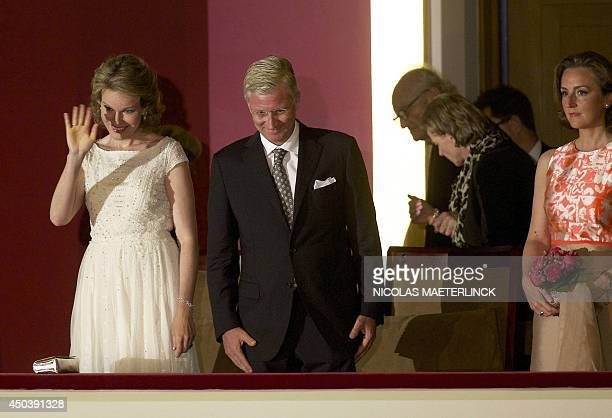 Queen Mathilde of Belgium King Philippe Filip of Belgium and Princess Claire of Belgium arrive to attend the final concert of the Queen Elisabeth...