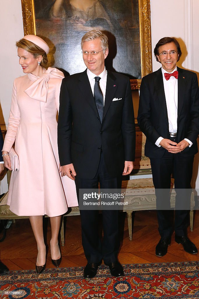 Queen Mathilde Of Belgium, King Philippe of Belgium and Prime Minister of Belgium Elio Di Rupo attend the visit to the Residence of the Ambassador of Belgium during a One Day Official Visit on February 6, 2014 in Paris, France.