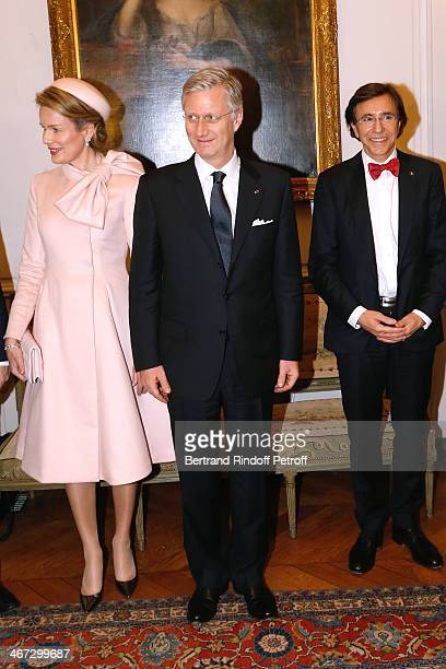 Queen Mathilde Of Belgium King Philippe of Belgium and Prime Minister of Belgium Elio Di Rupo attend the visit to the Residence of the Ambassador of...