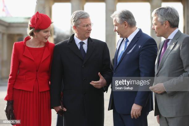 Queen Mathilde of Belgium King Philippe of Belgium Berlin Mayor Klaus Wowereit and Belgian Foreign Minister Didier Reynders stand in front of the...