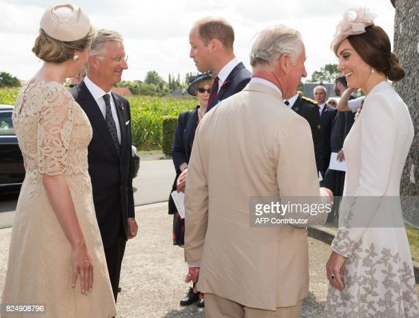Queen Mathilde of Belgium King Philippe of Belgium Britain's Prince William Britain's Prince Charles and Princess Catherine Duchess of Cambridge talk...