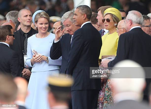 Queen Mathilde of Belgium King Philippe of Belgium US President Barack Obama and Queen Maxima of The Netherlands attend the International Ceremony at...
