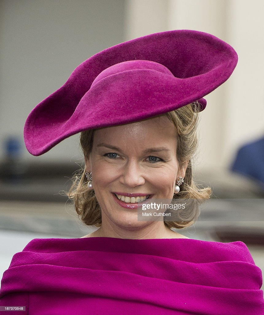 Queen Mathilde of Belgium leaving The Noordeinde Palace during an official visit to The Netherlands on November 8, 2013 in The Hague, Netherlands.