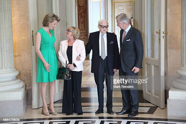 Queen Mathilde of Belgium Madame Thielemans Baron Toots Thielemans and King Pilippe of Belgium pose for a picture at Laeken Castle on May 6 2014 in...