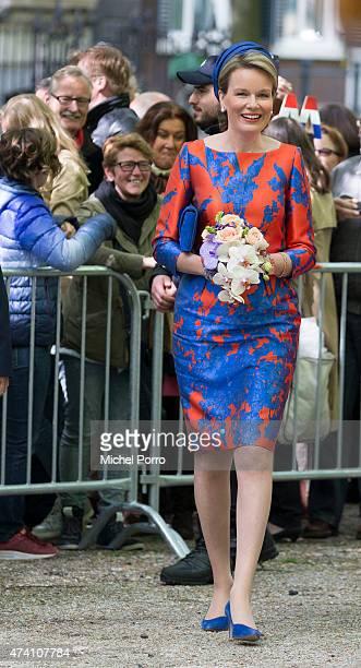 Queen Mathilde of Belgium opens the sculpture exhibition Vormidable on May 20 2015 in The Hague Netherlands