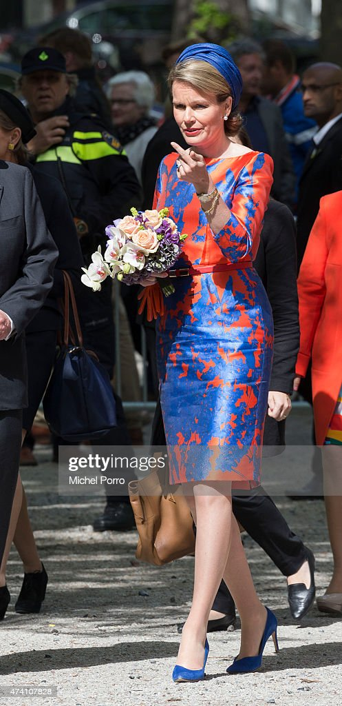 Queen Mathilde of Belgium opens the sculpture exhibition Vormidable on May 20, 2015 in The Hague, Netherlands.