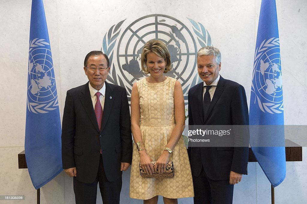 Queen Mathilde of Belgium (C) pictured during a bilateral meeting with United Nations Secretary-General, Ban Ki-moon (L) and <a gi-track='captionPersonalityLinkClicked' href=/galleries/search?phrase=Didier+Reynders&family=editorial&specificpeople=548982 ng-click='$event.stopPropagation()'>Didier Reynders</a>, Minister of Foreign Affairs (R) during her visit to New York on September 19, 2013 in New York, USA.