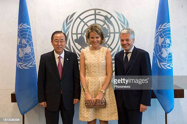 Queen Mathilde of Belgium pictured during a bilateral meeting with United Nations SecretaryGeneral Ban Kimoon and Didier Reynders Minister of Foreign...
