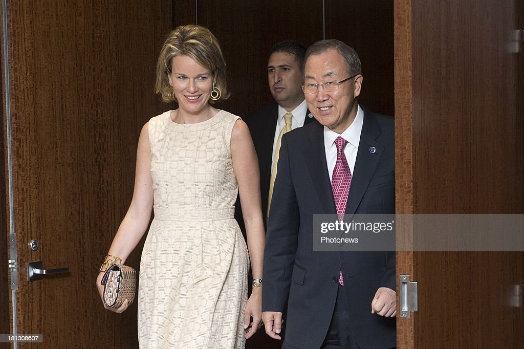 Queen Mathilde of Belgium pictured during a bilateral meeting with United Nations Secretary-General Ban Ki-moon during her visit to New York on September 19, 2013 in New York, USA.