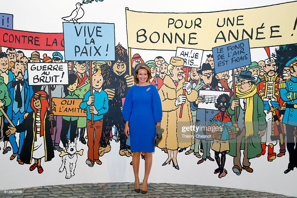 Queen Mathilde of Belgium  Visits The Herge Exhibition At Le Grand Palais in Paris