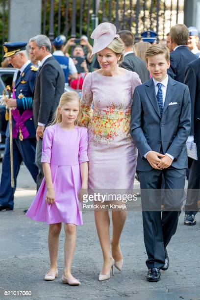 Queen Mathilde of Belgium Princess Eleonore of Belgium and Prince Gabriel of Belgium attend the Te Deum mass on the occasion of the Belgian National...