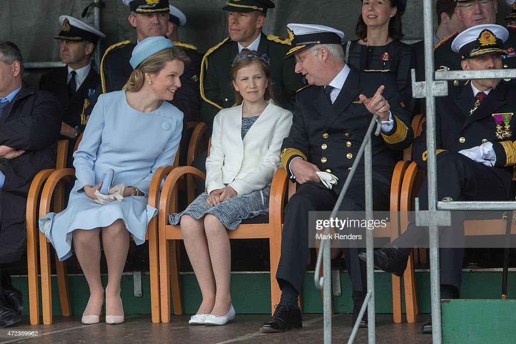 Queen Mathilde of Belgium Princess Elisabeth of Belgium and King Philippe of Belgium are seen during the Patrol Ship Pollux's inauguration on May 6...