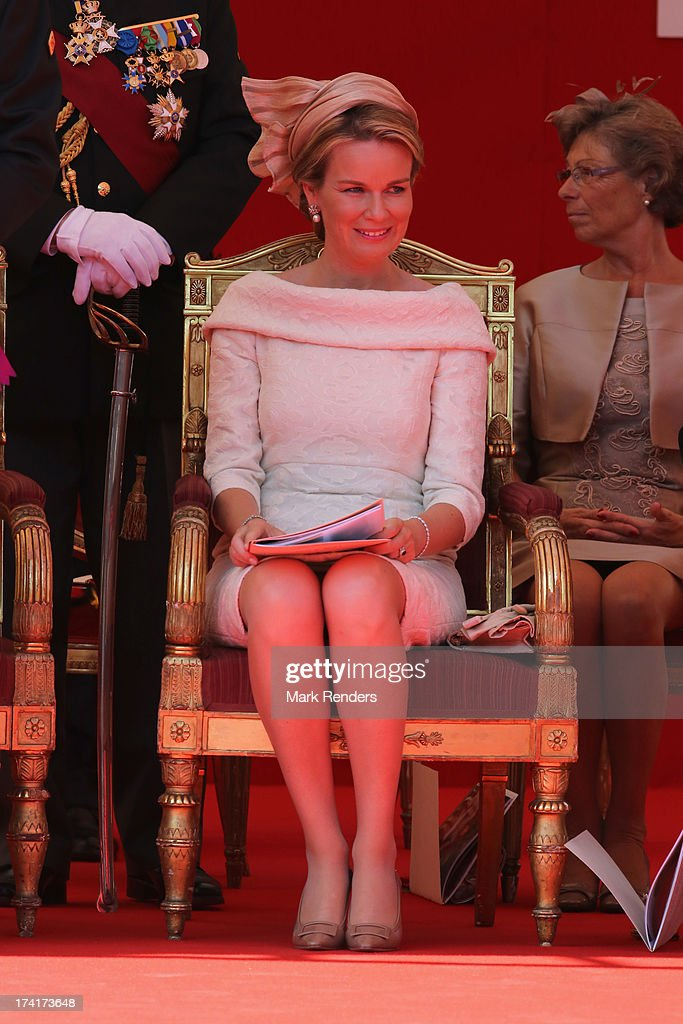 Queen Mathilde of Belgium seen during Civil and Military Parade during the Abdication Of King Albert II Of Belgium, & Inauguration Of King Philippe on July 21, 2013 in Brussels, Belgium.