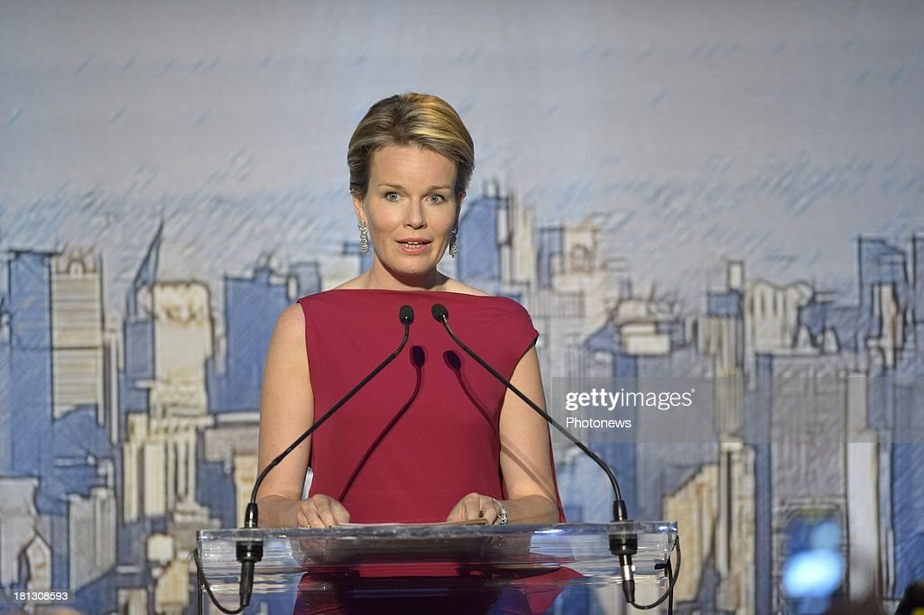 Queen Mathilde of Belgium speaking during her speech at the Global Compact Leaders dinner at the Museum of Modern Art on September 19, 2013 in New York, USA.