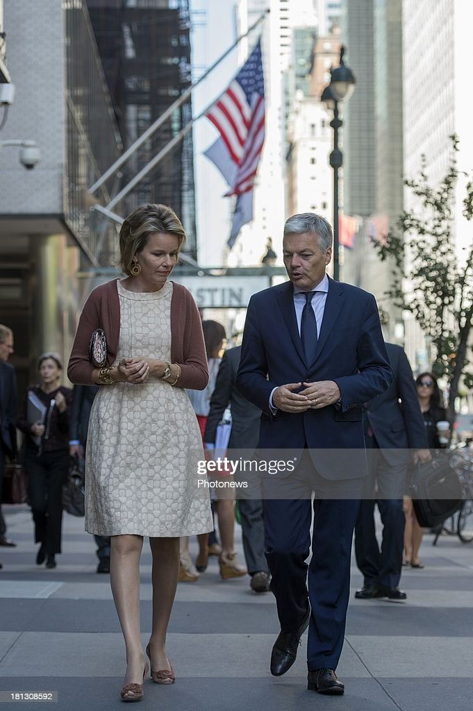 Queen Mathilde of Belgium talks with <a gi-track='captionPersonalityLinkClicked' href=/galleries/search?phrase=Didier+Reynders&family=editorial&specificpeople=548982 ng-click='$event.stopPropagation()'>Didier Reynders</a>, Minister of Foreign Affairs during her visit to New York on September 19, 2013 in New York, USA.