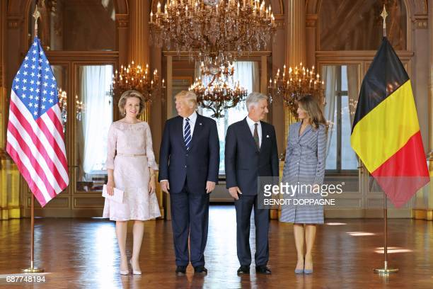 Queen Mathilde of Belgium US President Donald Trump King Philippe Filip of Belgium and US First Lady Melania Trump stand during a reception at the...