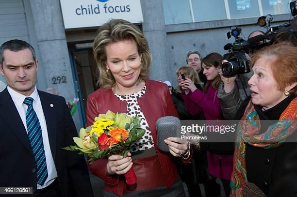 Queen Mathilde of Belgium visit sChild Focus' office on January 31 2014 in Brussels Belgium