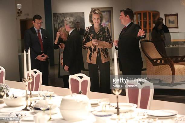 Queen Mathilde of Belgium visits Henry Van De Velde's Exhibition at the Royal Museum of Art and History on December 10 2013 in Brussels Belgium
