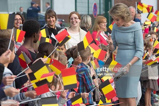 Queen Mathilde of Belgium visits SHAPE on September 30 2014 in Mons Belgium