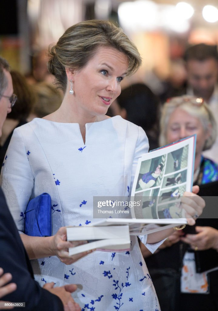 Queen Mathilde of Belgium visits the 2017 Frankfurt Book Fair (Frankfurter Buchmesse) on October 12, 2017 in Frankfurt am Main, Germany. The 2017 fair, which is among the world's largest book fairs, is open to the public from October 11-15.
