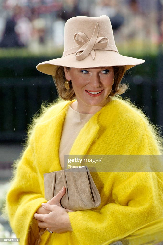 <a gi-track='captionPersonalityLinkClicked' href=/galleries/search?phrase=Queen+Mathilde+of+Belgium&family=editorial&specificpeople=239189 ng-click='$event.stopPropagation()'>Queen Mathilde of Belgium</a> visits the city of Liege with King Philippe (not pictured) as part of the royal couple's tour of the provinces on October 11, 2013 in Belgium.