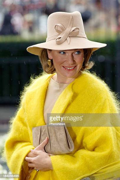 Queen Mathilde of Belgium visits the city of Liege with King Philippe as part of the royal couple's tour of the provinces on October 11 2013 in...