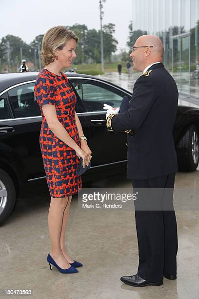 Queen Mathilde of Belgium visits the exhebition 'the Europe of Rubens' at the LouvreLens Museum on September 13 2013 in Lens France