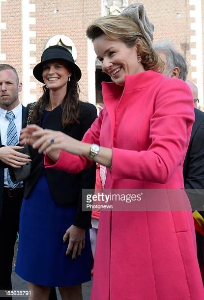 Queen Mathilde of Belgium visits the German speaking community on October 23 2013 in Eupen Belgium