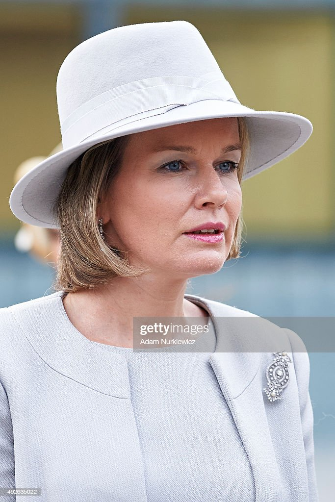 Queen Mathilde of Belgium visits The Museum of the History of Polish Jews as part of official Royal visit in Poland on October 14, 2015 in Warsaw, Poland.