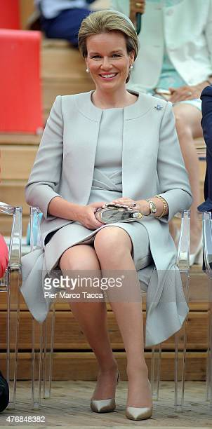 Queen Mathilde of Belgium visits the pavilion of Belgium during the national day of Belgium at the Expo 2015 on June 12 2015 in Milan Italy
