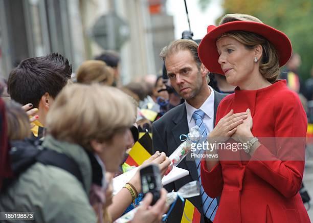 Queen Mathilde of Belgium visits the province of Luxembourg on October 18 2013 in Arlon Belgium